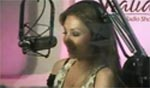 Thalia in studio for radio show Conexion Thalia